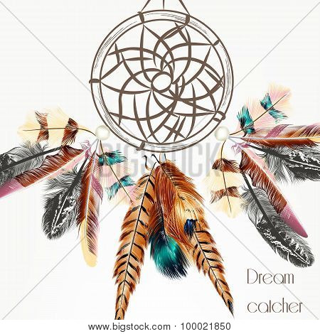 Vector Background With Dream Catcher From Colorful Feathers