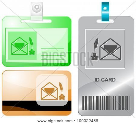 mail with feather and inkstandn . Vector id cards.