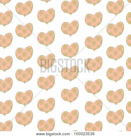 heart in a floret seamless valentines pattern