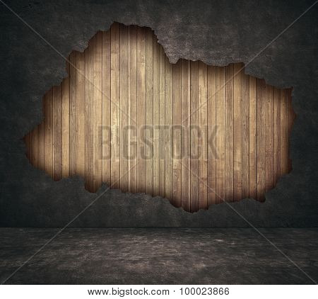 Black grunge cracked concrete and wooden planks wall with walkway