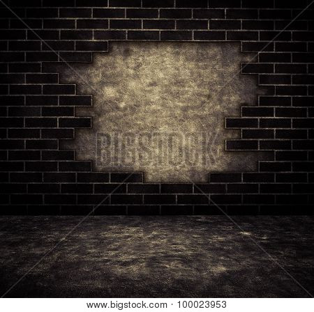 Black grunge cracked brick and concrete wall background with walkway