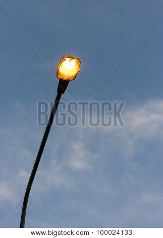 Turned On Streetlight In The Eveing