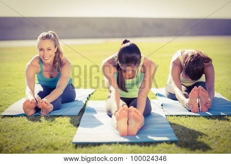 Portrait of smiling sporty blonde stretching with friends in parkland