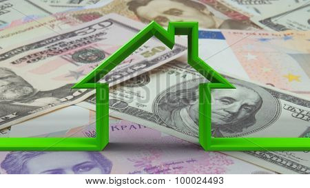 House Outline On Money Background