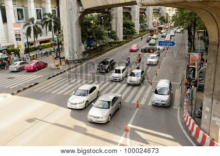 BANGKOK, THAILAND - JUNE 20, 2015: streets of Bangkok downtown. Bangkok is the capital and the most populous city of Thailand.