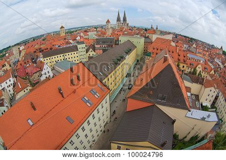 Aerial view to the historical buildings of Regensburg, Germany.