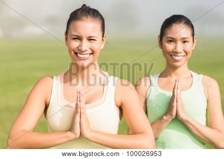 Portrait of smiling sporty women doing yoga in parkland