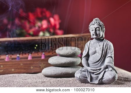 Buddha And Tower Of Stones