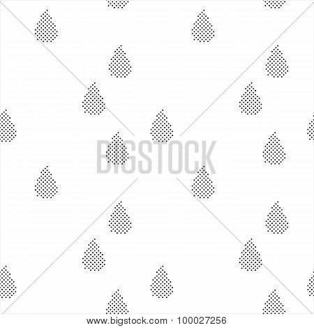 Black and white seamless pattern with halftone raindrops