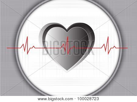 Gray Heart And Heart Beat In Normal Rythm