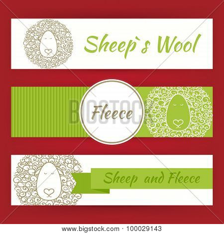 Sheep Fool And Fleece Concept Hand Drawn Style Vector Template Banners Set
