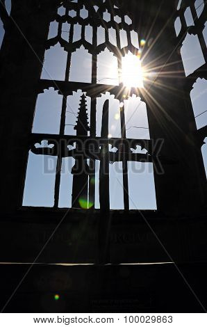 Coventry Cathedral window silhouette.
