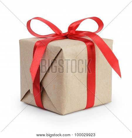 present box from brown papaer with red ribbon bow