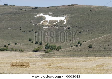 White Chalk Horse Near Avebury. UK