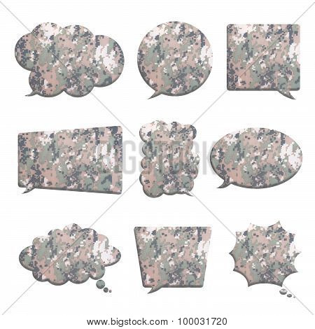 Digital Camouflage In Bubble Speech Shape Isolated On White