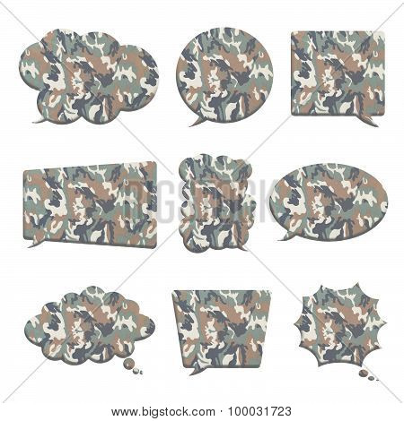 Camouflage In Bubble Speech Shape Isolated On White