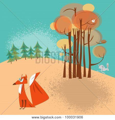 Autumn Landscape. Fox And Rabbit.