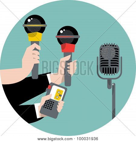 Hands Holding Microphones And Voice Recorders. Journalism Concep.