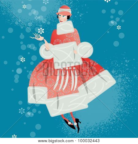 Winter. Woman With A Snowflake. Retro Style. Art Deco.