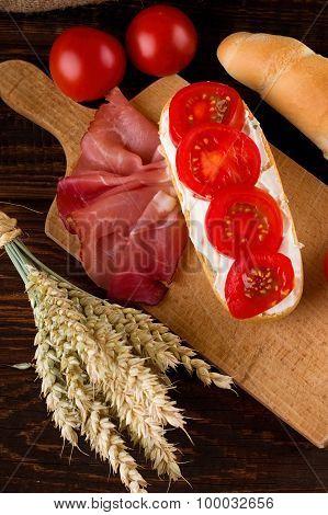 Baguette Among Vegetable Ham And Grains