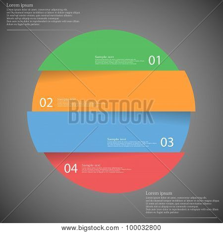 Infographic Template With Circle Divided To Four Parts On Dark