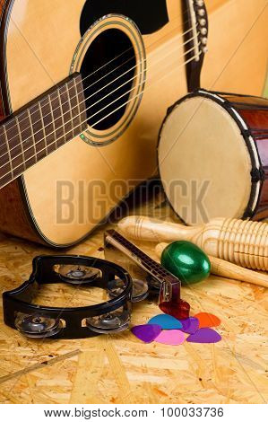 Set Of Musical Instruments On Osb