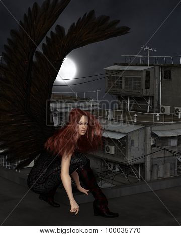 Female Urban Guardian Angel, Crouching