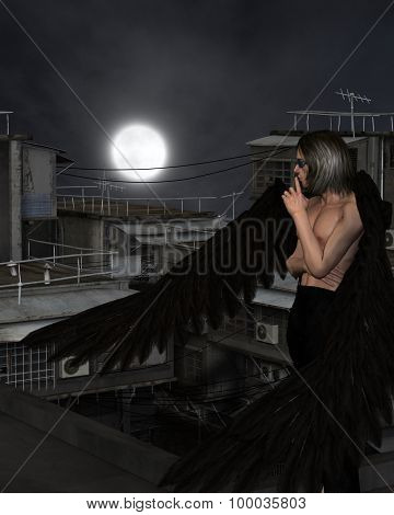 Male Urban Guardian Angel, Standing
