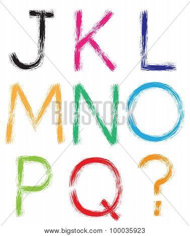 Font. Alphabet. . Letters J-q + Question Mark (?).