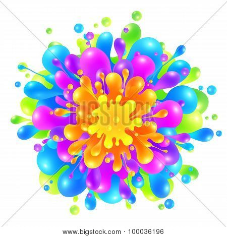 Rainbow colors paint splash on white background