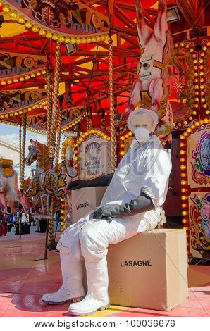 Abattoir Worker On Horse Carousel, Dismaland