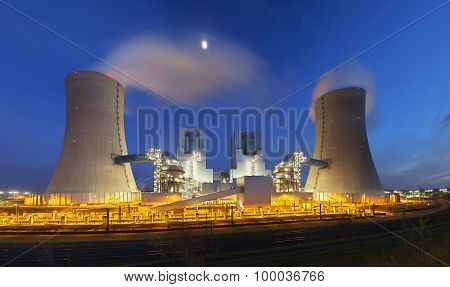 Power Station At Night Panorama