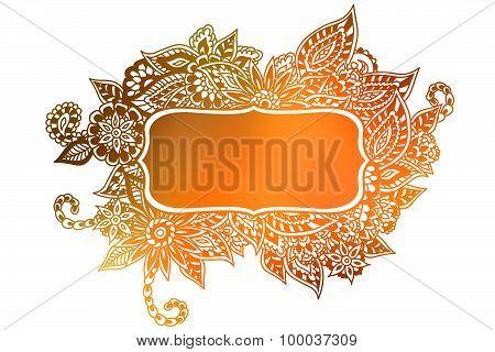 Doodle Floral Copper Colored Frame