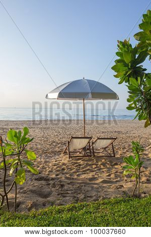Beach Umbrella And Chairs
