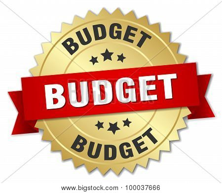 Budget 3D Gold Badge With Red Ribbon