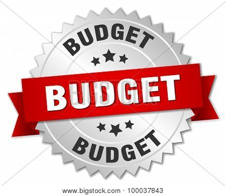 Budget 3D Silver Badge With Red Ribbon