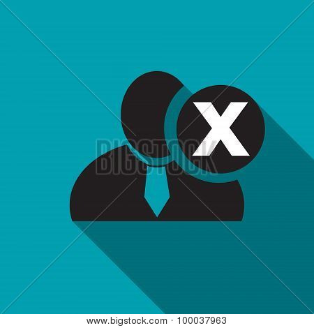 Delete Black Man Silhouette Icon On The Blue Background, Long Shadow Flat Design Icon For Forums Or