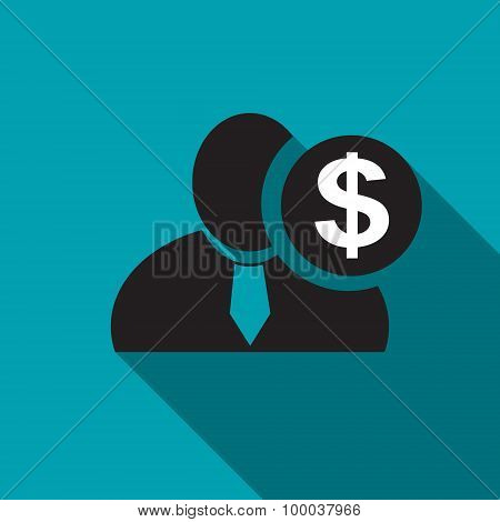 Dollar Black Man Silhouette Icon On The Blue Background, Long Shadow Flat Design Icon For Forums Or