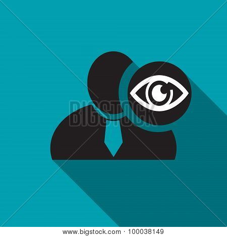 Eye Black Man Silhouette Icon On The Blue Background, Long Shadow Flat Design Icon For Forums Or Web
