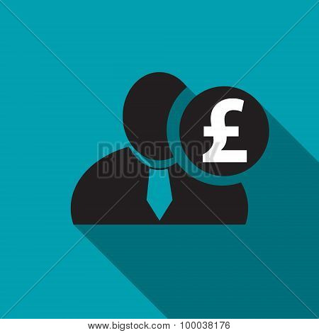 British Pound Black Man Silhouette Icon On The Blue Background, Long Shadow Flat Design Icon For For