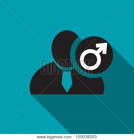 Male Gender Black Man Silhouette Icon On The Blue Background, Long Shadow Flat Design Icon For Forum