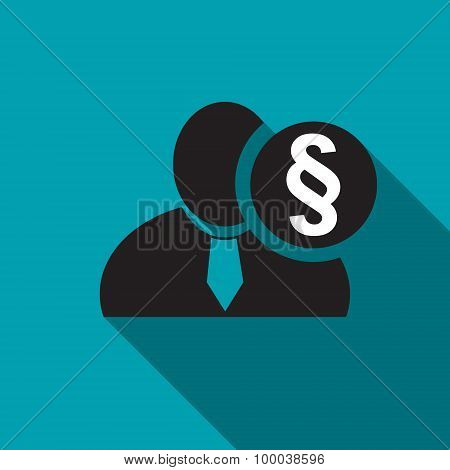 Section Or Paragraph Sign Black Man Silhouette Icon On The Blue Background, Long Shadow Flat Design