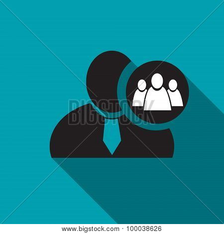Referral Or Group Black Man Silhouette Icon On The Blue Background, Long Shadow Flat Design Icon For