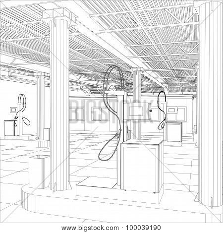 Gas station wire-frame line vector
