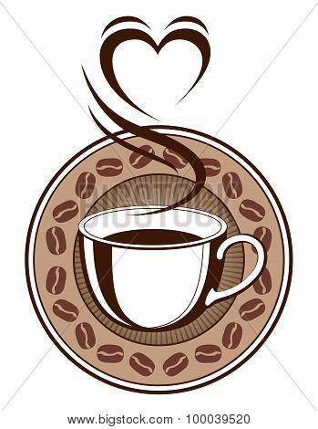Coffee Design With Steaming Heart