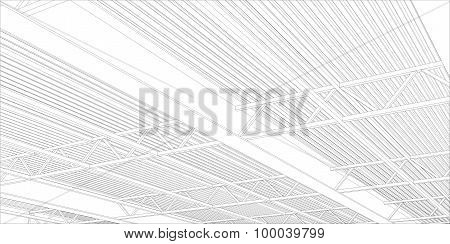Abstract line vector construction industrial building.