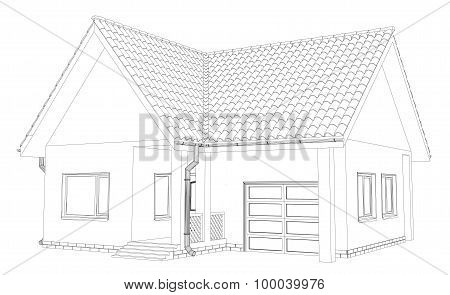 Vector sketch house on the white background. EPS 10