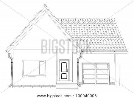 Sketch line at home. Vector illustration.