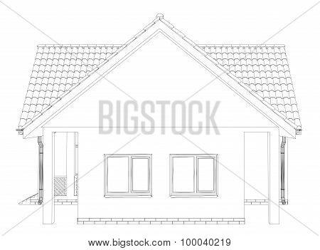 Sketch line at home. Vector illustration. Illustration created of 3d