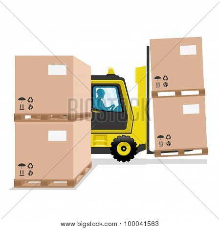 Yellow forklift.